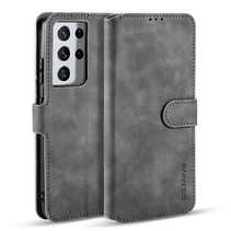 CaseMe - Samsung Galaxy S21 Ultra Hoesje - Met Magnetische Sluiting - Ming Serie - Leren Book Case - Grijs