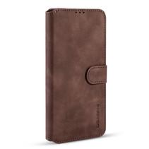 CaseMe - iPhone 12 Mini Hoesje - Met Magnetische Sluiting - Ming Serie - Leren Book Case - Donker Bruin