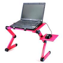 Laptop standaard Verstelbaar Universeel - Laptoptafel - Geschikt voor thuiswerken - Laptopstandaard Opvouwbaar - Magenta