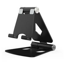 Telefoon en Tablet houder - Ergonomisch design - Opvouwbaar - Smartphone standaard voor Bureau of Tafel - Zwart