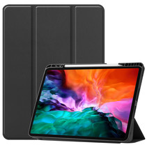 iPad Hoes voor Apple iPad Pro 2021 Hoes Cover - 12.9 inch - Tri-Fold Book Case - Apple Pencil Houder - Zwart