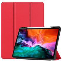 iPad Hoes voor Apple iPad Pro 2021 Hoes Cover - 12.9 inch - Tri-Fold Book Case - Apple Pencil Houder - Rood