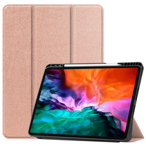 iPad Hoes voor Apple iPad Pro 2021 Hoes Cover - 12.9 inch - Tri-Fold Book Case - Apple Pencil Houder - Rosé Goud