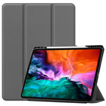 iPad Hoes voor Apple iPad Pro 2021 Hoes Cover - 12.9 inch - Tri-Fold Book Case - Apple Pencil Houder - Grijs