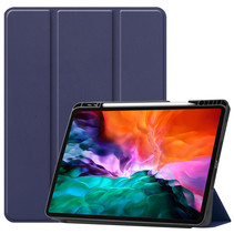 iPad Hoes voor Apple iPad Pro 2021 Hoes Cover - 12.9 inch - Tri-Fold Book Case - Apple Pencil Houder - Donker Blauw