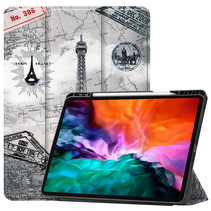 iPad Hoes voor Apple iPad Pro 2021 Hoes Cover - 12.9 inch - Tri-Fold Book Case - Apple Pencil Houder - Eiffeltoren