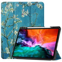 iPad Hoes voor Apple iPad Pro 2021 Hoes Cover - 12.9 inch - Tri-Fold Book Case - Apple Pencil Houder - Witte Bloesem