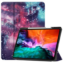iPad Hoes voor Apple iPad Pro 2021 Hoes Cover - 12.9 inch - Tri-Fold Book Case - Apple Pencil Houder - Galaxy
