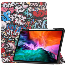 iPad Hoes voor Apple iPad Pro 2021 Hoes Cover - 12.9 inch - Tri-Fold Book Case - Apple Pencil Houder - Graffiti