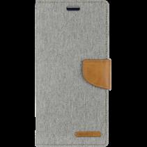 iPhone 11 Pro Hoesje - Mercury Canvas Diary Wallet Case - Hoesje met Pasjeshouder - Grijs