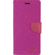 iPhone 11 Pro Hoesje - Mercury Canvas Diary Wallet Case - Hoesje met Pasjeshouder - Roze