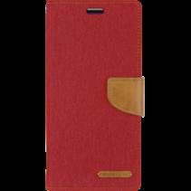 iPhone 11 Pro Max Hoesje - Mercury Canvas Diary Wallet Case - Hoesje met Pasjeshouder -Rood