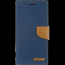 iPhone 12 Mini Hoesje - Mercury Canvas Diary Wallet Case - Hoesje met Pasjeshouder - Blauw
