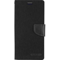 iPhone 12 / 12 Pro Hoesje - Mercury Canvas Diary Wallet Case - Hoesje met Pasjeshouder - Zwart