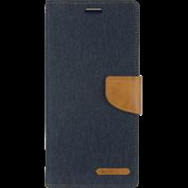 iPhone 12 / 12 Pro Hoesje - Mercury Canvas Diary Wallet Case - Hoesje met Pasjeshouder - Donker Blauw