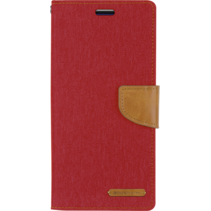 iPhone 12 / 12 Pro Hoesje - Mercury Canvas Diary Wallet Case - Hoesje met Pasjeshouder - Rood