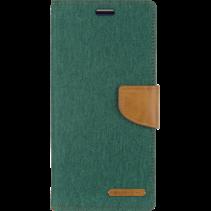 iPhone 12 / 12 Pro Hoesje - Mercury Canvas Diary Wallet Case - Hoesje met Pasjeshouder - Groen
