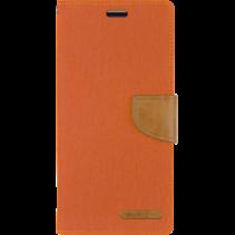 iPhone 12 / 12 Pro Hoesje - Mercury Canvas Diary Wallet Case - Hoesje met Pasjeshouder - Oranje