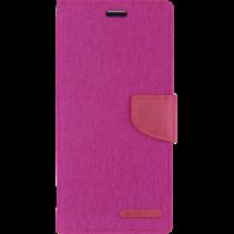 iPhone 12 / 12 Pro Hoesje - Mercury Canvas Diary Wallet Case - Hoesje met Pasjeshouder - Roze