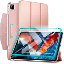iPad Pro 2021 (12.9 Inch) Hoes - Slim Fit Smart Stand Case + Screenprotector - Rosé Goud