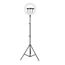 Ringlamp met Statief voor 3 Smartphones - Draaibare Ringlight met Statief 14 inch / 36 cm - Dimbare Ringlamp - In Hoogte Verstelbare Ring Lamp tot 200 cm