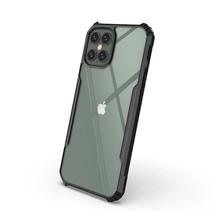 iPhone 12 Hoesje - Super Protect Slim Bumper - Back Cover - Zwart/Transparant