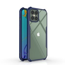 iPhone 12 / 12 Pro Hoesje - Super Protect Slim Bumper - Back Cover - Blauw/Transparant