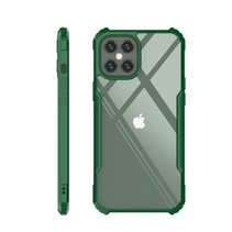 iPhone 12 Hoesje - Super Protect Slim Bumper - Back Cover - Groen/Transparant