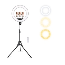 Ringlamp met Statief voor 3 Smartphones - Draaibare Ringlight met Statief 13 inch / 33 cm - Dimbare Ringlamp - In Hoogte Verstelbare Ring Lamp tot 200 cm