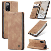 CaseMe - Samsung Galaxy S20 FE Hoesje - Wallet Book Case - Magneetsluiting - Licht Bruin