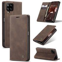 CaseMe - Samsung Galaxy A12 Hoesje - Wallet Book Case - Magneetsluiting - Donker Bruin