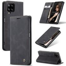 CaseMe - Samsung Galaxy A12 Hoesje - Wallet Book Case - Magneetsluiting - Zwart