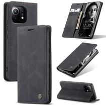 CaseMe - Xiaomi Mi 11 Hoesje - Wallet Book Case - Magneetsluiting - Zwart