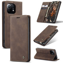 CaseMe - Xiaomi Mi 11 Hoesje - Wallet Book Case - Magneetsluiting - Donker Bruin
