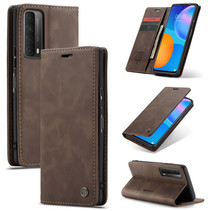 CaseMe - Huawei P Smart 2021 Hoesje - Wallet Book Case - Magneetsluiting - Donker Bruin