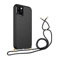 Hoesje Met Koord voor Apple iPhone 12 Mini - TPU Case - Siliconen Back Cover - Zwart