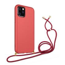 Hoesje Met Koord voor Apple iPhone 12 Mini - TPU Case - Siliconen Back Cover - Rood