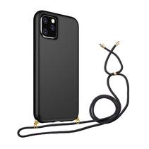 Hoesje Met Koord voor Apple iPhone 12 Pro Max - TPU Case - Siliconen Back Cover - Zwart
