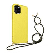 Hoesje Met Koord voor Apple iPhone 12 Pro Max - TPU Case - Siliconen Back Cover - Geel