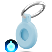 Apple - Airtag-Sleutelhanger - Siliconen Airtag Hoesje - Airtag hanger - Airtag case met sleutelhanger clip - Pastel Blauw