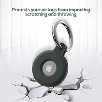 Apple - Airtag-Sleutelhanger - Siliconen Airtag Hoesje - Airtag hanger - Airtag case met sleutelhanger clip - Transparant Wit