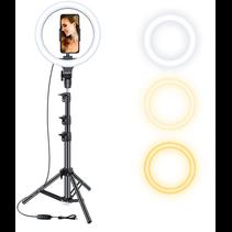 Ringlamp met Statief - Ringlight - Tiktok Lamp - In Hoogte Verstelbare Ring Lamp tot 200 cm - 10 inch / 26 cm diameter - 3 Lichtkleuren