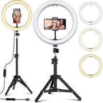 Ringlamp met Statief Smartphone of Camera - Draaibare TikTok Lamp Met Telefoonhouder 13 inch / 33 cm - Ringlight met Statief 200 CM - Dimbare Instagram Lamp - Inclusief 3x Telefoonhouder