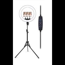 Ringlamp met Statief Smartphone - Draaibare Ringlamp Tiktok lamp met 3 Telefoonhouders - Dimbaar - 13 inch / 33 CM - Verstelbaar tot 200 CM