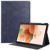 Samsung Galaxy Tab S7 FE Hoes - PU Leer Folio Book Case - Donker Blauw