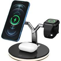 Draadloze snellader voor mobiele telefoon,  smartwatch en oordopjes -15W - 3 in 1 oplaadstation - Multifunctioneel docking station  - Zwart