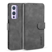 CaseMe - OnePlus 9 Hoesje - Met Magnetische Sluiting - Ming Serie - Leren Book Case - Grijs