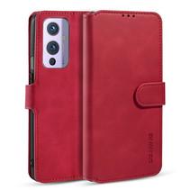 CaseMe - OnePlus 9 Hoesje - Met Magnetische Sluiting - Ming Serie - Leren Book Case - Rood