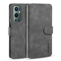 CaseMe - OnePlus 9 Pro Hoesje - Met Magnetische Sluiting - Ming Serie - Leren Book Case - Grijs
