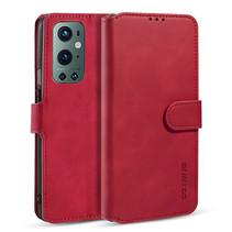 CaseMe - OnePlus 9 Pro Hoesje - Met Magnetische Sluiting - Ming Serie - Leren Book Case - Rood